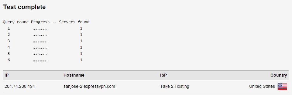 ExpressVPN DNS Leak Test